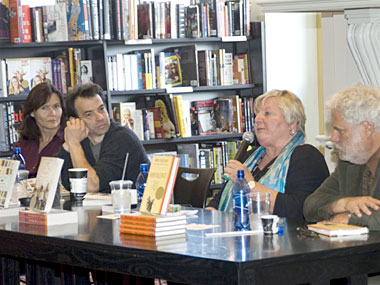 Lisa, Brad, Julia and Mark answer questions following their readings at books&co on Sunday.