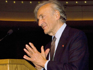 Professor Elie Wiesel addresses the gathering.